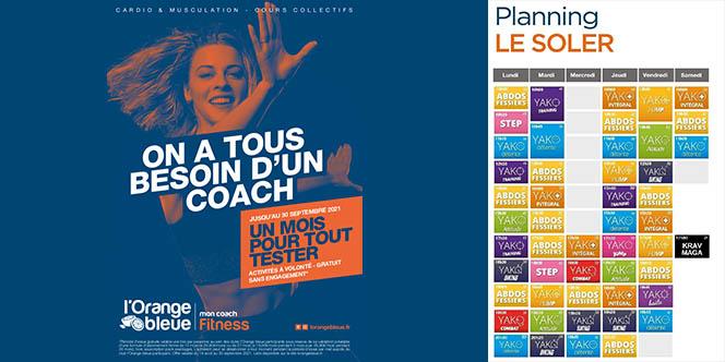 L'Orange Bleue Perpignan, salle de sport à Saint Charles, rappelle son offre de Septembre.