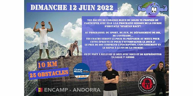 Orange bleue le Soler participe à Spartan Race le 12 juin 2022. Tu participes ?
