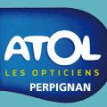 Logo de l'opticien Atol dans l'Espace Polygone, Perpignan.