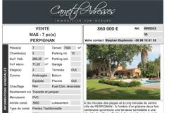 Maison de caractère Perpignan avec Carnet d'adresses agence immobilière (® carnet d'adresses)