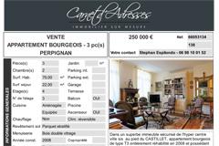 Vente Appartement bourgeois Perpignan avec Carnet d'Adresses