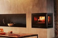 Cheminées Perpignan chez Valdivia Le Soler fabrique et installe des cheminées et des foyers ici une cheminée contemporaine  (® valdivia)