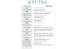 KyuTea Perpignan | Carte du salon de thé