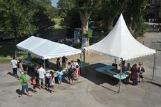 Chapiteau pour stand de la société Panoramique Location specialiste de la location de chapiteaux et tentes dans la ville de Pia (credits photos :EDV-S.Delchambre)