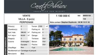 3 Villas luxe Perpignan à vendre chez Carnet d'adresses Perpignan et leurs fiches descriptives.