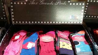 Damaï Perpignan vend la marque Berthe aux grands pieds en centre-ville: gants, collants, chaussettes de cette marque française.(® networld-Gontier)