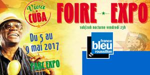 France Bleu Roussillon à la Foire Expo Perpignan du 5 au 9 mai avec un stand, des émissions en direct, des invités et des cadeaux à gagner.
