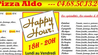 Happy Hours à la pizzeria Pizza Aldo de Perpignan du lundi au vendredi de 18h à 20h