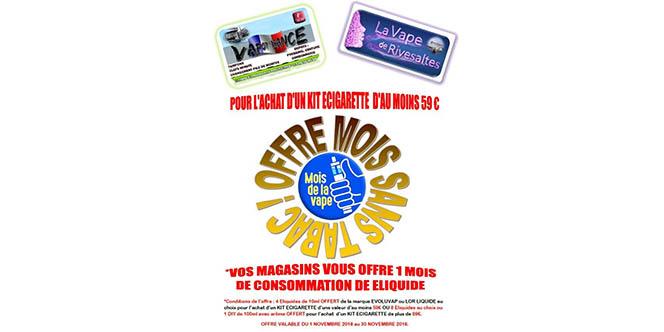 La Vape de Rivesaltes Magasin de cigarettes électroniques annonce une opération Mois sans tabac en offrant un mois de e-liquides *.