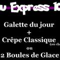 Menu Express le midi du restaurant La Crêpière dans la rue des Augustins de Perpignan
