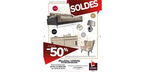 Meubles Logial le Boulou solde jusqu'à -50 % sur une sélection de canapés, literies, fauteuils et objets déco.