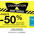 Opticien Perpignan Krys Bressac annonce des Promos sur des montures jusqu'à moins 50% avant travaux dans la boutique.