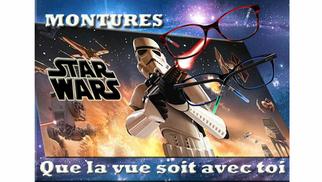 Optique Saint Martin Perpignan annonce une remise sur les montures Star Wars et sur des lunettes de soleil.