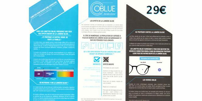 be853457b0588d Optique Saint Martin Perpignan propose les lunettes contre lumière bleue  OBlue à 29 €.