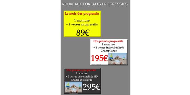 Optique Saint Martin Perpignan propose 3 forfaits Verres progressifs en mars.