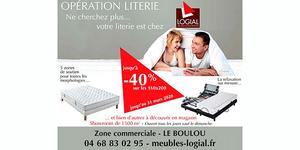 Promo Literie chez Meubles Logial au Boulou du mois de Mars 2020.