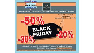 Les boutiques de mode Saint Clair Store affichent des promos du Black Friday dès jeudi 9h30.