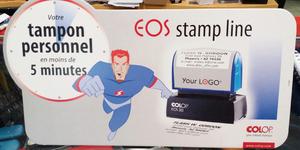 Vapot France Pollestres réalise votre tampon professionnel en moins de 5 minutes avec texte et logo.