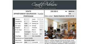 Vente Appartement bourgeois Perpignan avec Carnet d'Adresses Cabestany à découvrir dans une fiche descriptive.